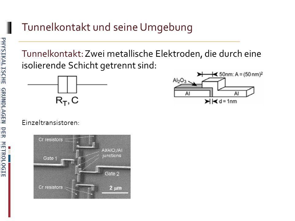Tunnelkontakt und seine Umgebung Tunnelkontakt: Zwei metallische Elektroden, die durch eine isolierende Schicht getrennt sind: Einzeltransistoren: