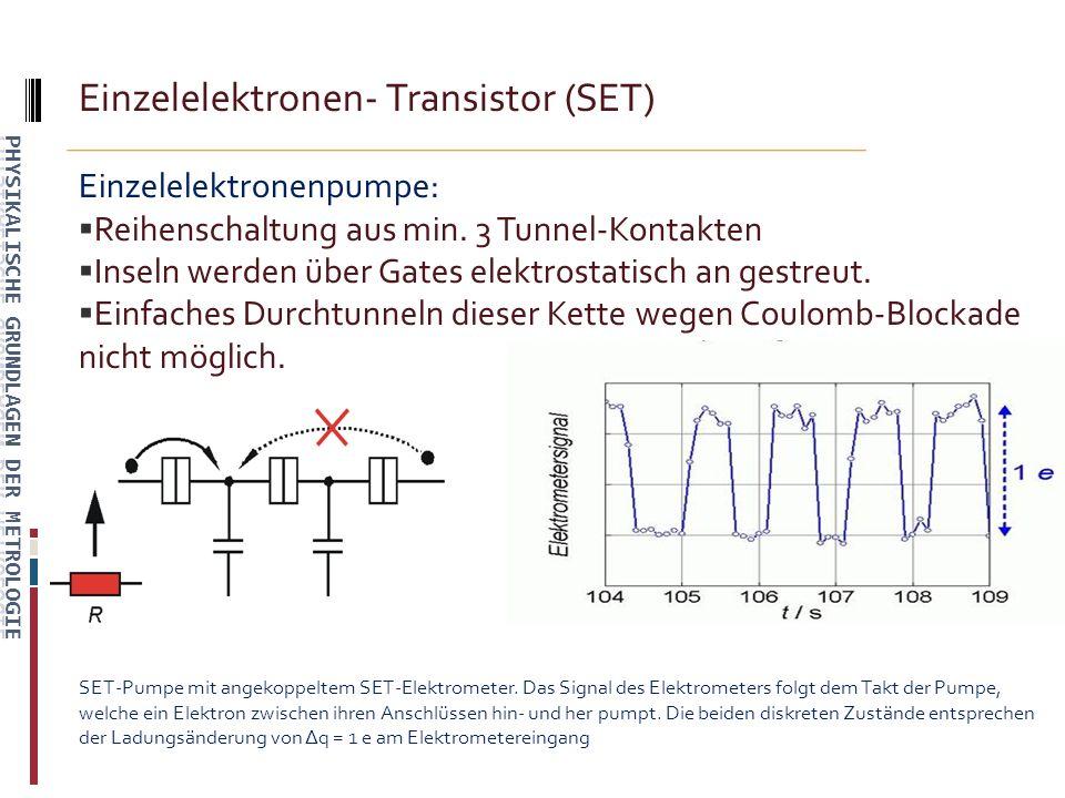 Einzelelektronen- Transistor (SET) Einzelelektronenpumpe: Reihenschaltung aus min.