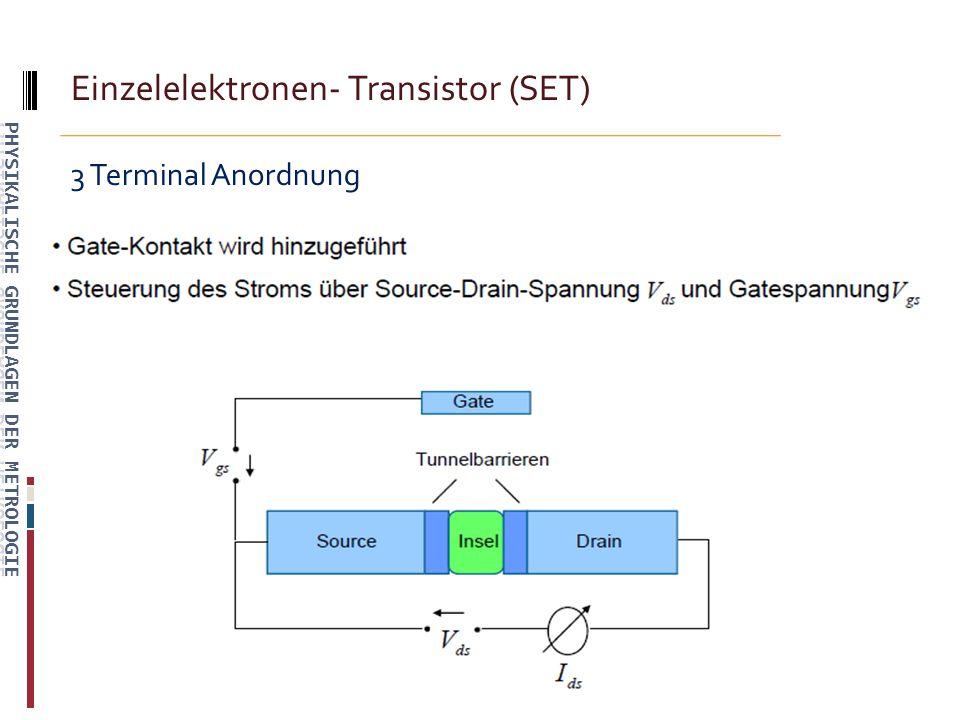Einzelelektronen- Transistor (SET) 3 Terminal Anordnung