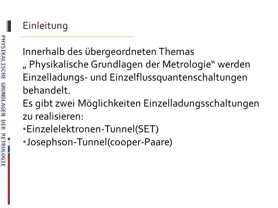 Einleitung Innerhalb des übergeordneten Themas Physikalische Grundlagen der Metrologie werden Einzelladungs- und Einzelflussquantenschaltungen behandelt.