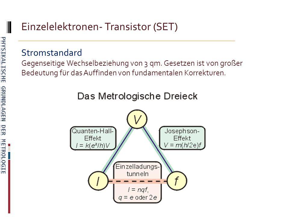 Einzelelektronen- Transistor (SET) Stromstandard Gegenseitige Wechselbeziehung von 3 qm.