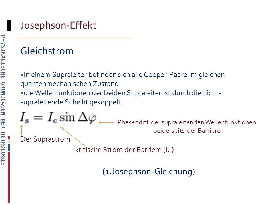 Josephson-Effekt Gleichstrom In einem Supraleiter befinden sich alle Cooper-Paare im gleichen quantenmechanischen Zustand.