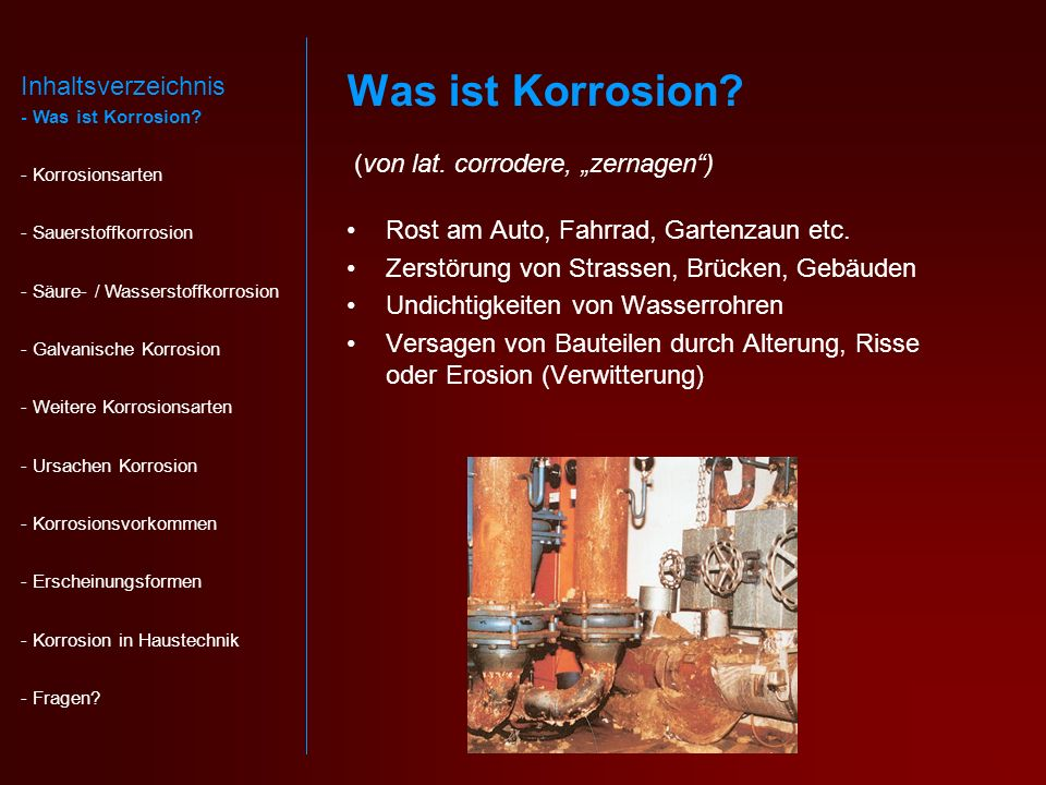 Korrosionsarten Sauerstoffkorrosion Säure- bzw.