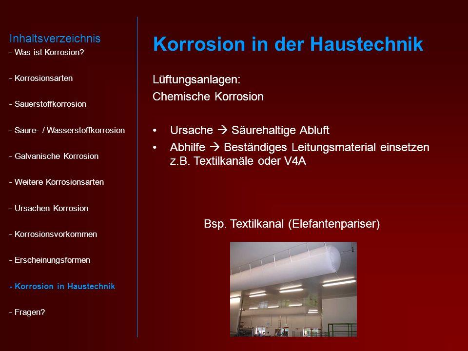 Lüftungsanlagen: Chemische Korrosion Ursache Säurehaltige Abluft Abhilfe Beständiges Leitungsmaterial einsetzen z.B.