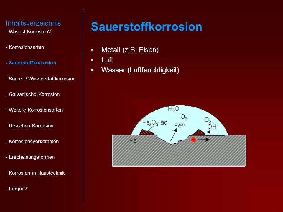 Sauerstoffkorrosion Metall (z.B.