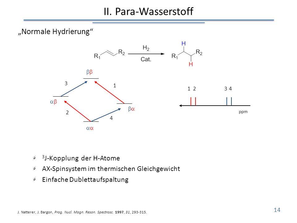 Normale Hydrierung 3 J-Kopplung der H-Atome AX-Spinsystem im thermischen Gleichgewicht Einfache Dublettaufspaltung II. Para-Wasserstoff J. Natterer, J
