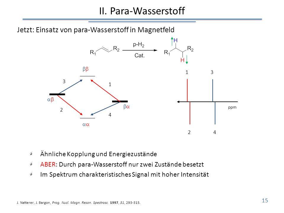II. Para-Wasserstoff Jetzt: Einsatz von para-Wasserstoff in Magnetfeld Ähnliche Kopplung und Energiezustände ABER: Durch para-Wasserstoff nur zwei Zus