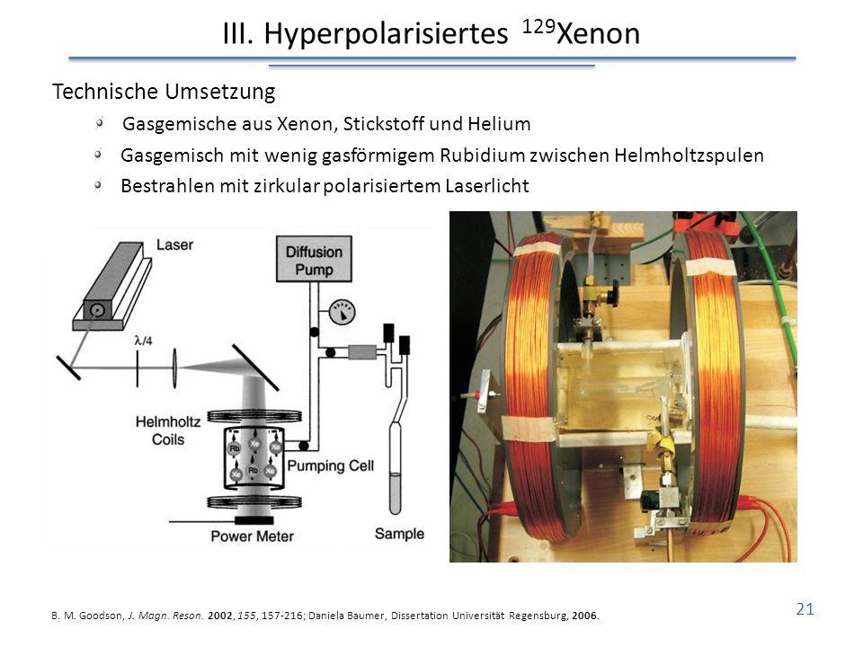 III. Hyperpolarisiertes 129 Xenon Technische Umsetzung Gasgemische aus Xenon, Stickstoff und Helium Gasgemisch mit wenig gasförmigem Rubidium zwischen