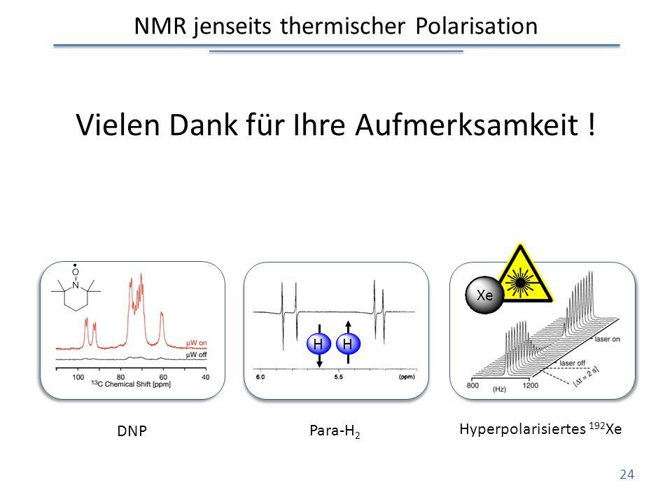 NMR jenseits thermischer Polarisation Vielen Dank für Ihre Aufmerksamkeit ! 24 HH Xe DNP Para-H 2 Hyperpolarisiertes 192 Xe