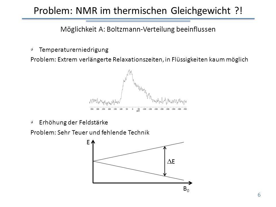 Problem: NMR im thermischen Gleichgewicht ?! Möglichkeit A: Boltzmann-Verteilung beeinflussen Temperaturerniedrigung Problem: Extrem verlängerte Relax