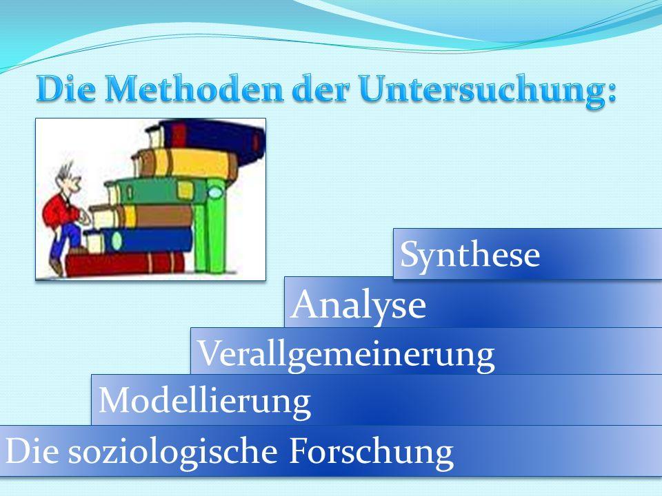 Analyse Synthese Verallgemeinerung Modellierung Die soziologische Forschung