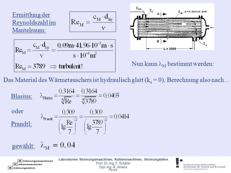 Folie 16 Laboratorien Strömungsmaschinen, Kolbenmaschinen, Strömungslehre Prof.