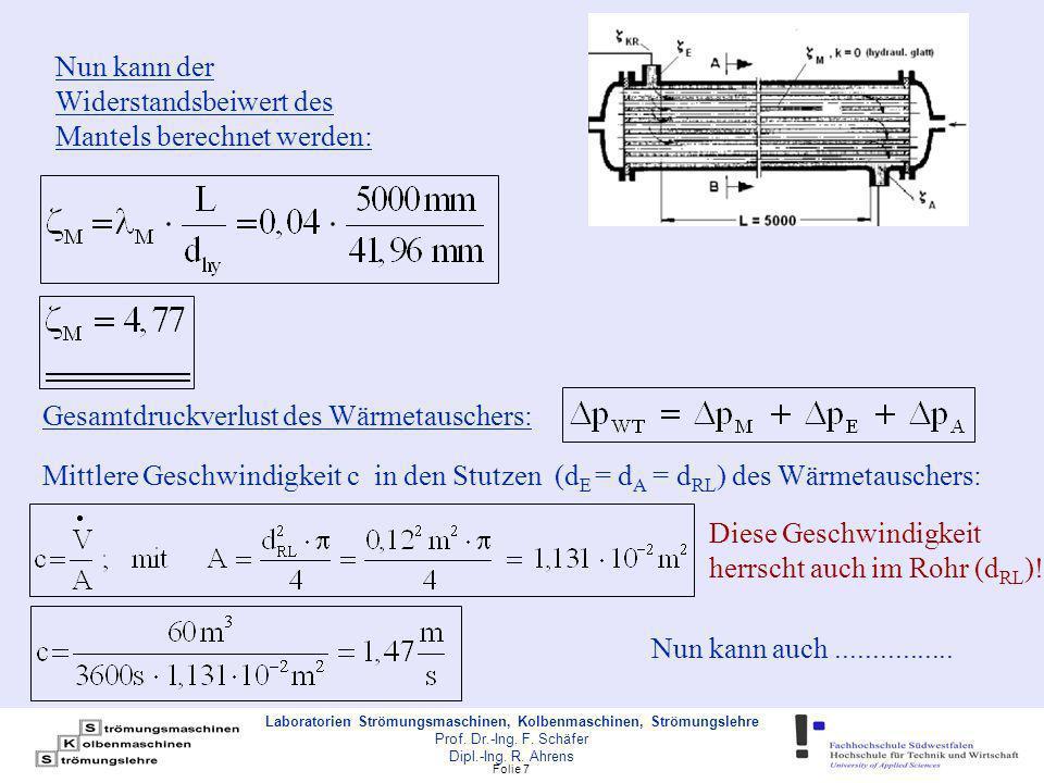 Folie 18 Laboratorien Strömungsmaschinen, Kolbenmaschinen, Strömungslehre Prof.