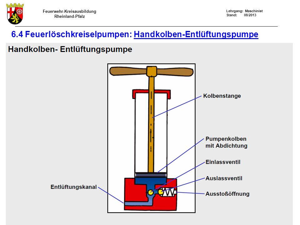 Feuerwehr-Kreisausbildung Rheinland-Pfalz Lehrgang: Maschinist Stand: 08/2013 6.4 Feuerlöschkreiselpumpen: Handkolben-Entlüftungspumpe