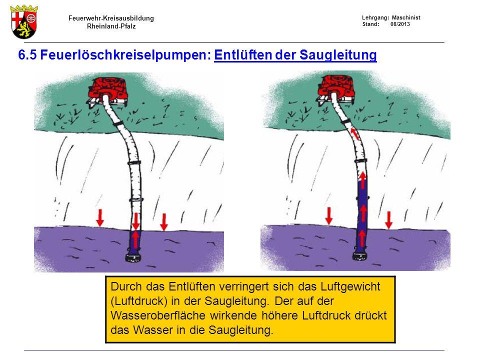 Feuerwehr-Kreisausbildung Rheinland-Pfalz Lehrgang: Maschinist Stand: 08/2013 6.5 Feuerlöschkreiselpumpen: Entlüften der Saugleitung Durch das Entlüft