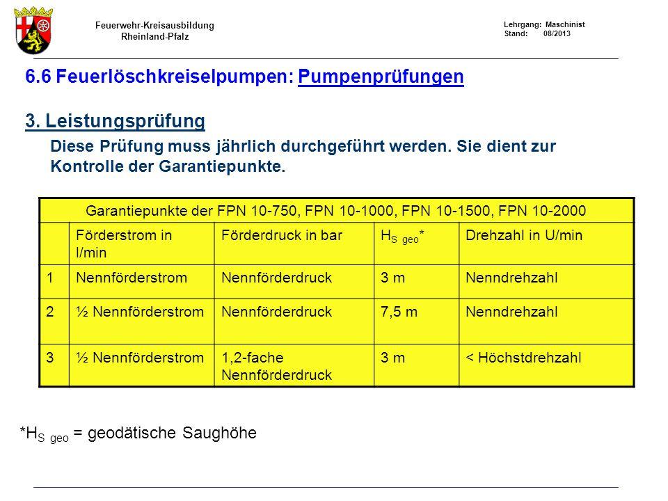 Feuerwehr-Kreisausbildung Rheinland-Pfalz Lehrgang: Maschinist Stand: 08/2013 6.6 Feuerlöschkreiselpumpen: Pumpenprüfungen 3. Leistungsprüfung Diese P
