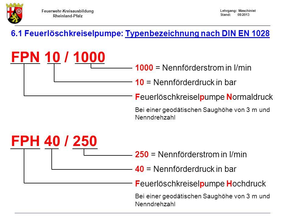Feuerwehr-Kreisausbildung Rheinland-Pfalz Lehrgang: Maschinist Stand: 08/2013 6.1 Feuerlöschkreiselpumpe: Typenbezeichnung nach DIN EN 1028 FPN 10 / 1000 FPH 40 / 250 1000 = Nennförderstrom in l/min 10 = Nennförderdruck in bar Feuerlöschkreiselpumpe Normaldruck Bei einer geodätischen Saughöhe von 3 m und Nenndrehzahl 250 = Nennförderstrom in l/min 40 = Nennförderdruck in bar Feuerlöschkreiselpumpe Hochdruck Bei einer geodätischen Saughöhe von 3 m und Nenndrehzahl