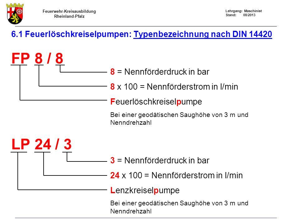 Feuerwehr-Kreisausbildung Rheinland-Pfalz Lehrgang: Maschinist Stand: 08/2013 6.1 Feuerlöschkreiselpumpen: Typenbezeichnung nach DIN 14420 FP 8 / 8 LP