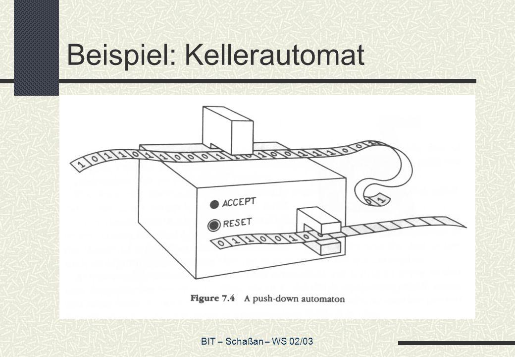 BIT – Schaßan – WS 02/03 Beispiel: Kellerautomat