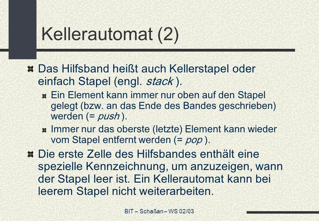 BIT – Schaßan – WS 02/03 Kellerautomat (2) Das Hilfsband heißt auch Kellerstapel oder einfach Stapel (engl.