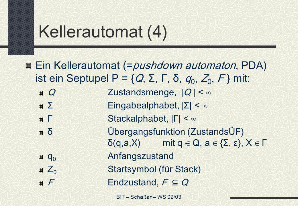 BIT – Schaßan – WS 02/03 Kellerautomat (4) Ein Kellerautomat (=pushdown automaton, PDA) ist ein Septupel P = {Q, Σ, Γ, δ, q 0, Z 0, F } mit: QZustandsmenge, |Q | < ΣEingabealphabet, |Σ| < ΓStackalphabet, |Γ| < δ Übergangsfunktion (ZustandsÜF) δ(q,a,X) mit q Q, a {Σ, ε}, X Γ q 0 Anfangszustand Z 0 Startsymbol (für Stack) FEndzustand, F Q
