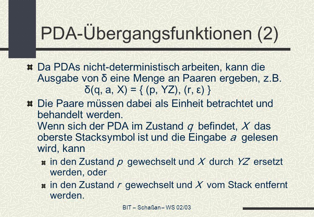 BIT – Schaßan – WS 02/03 PDA-Übergangsfunktionen (2) Da PDAs nicht-deterministisch arbeiten, kann die Ausgabe von δ eine Menge an Paaren ergeben, z.B.