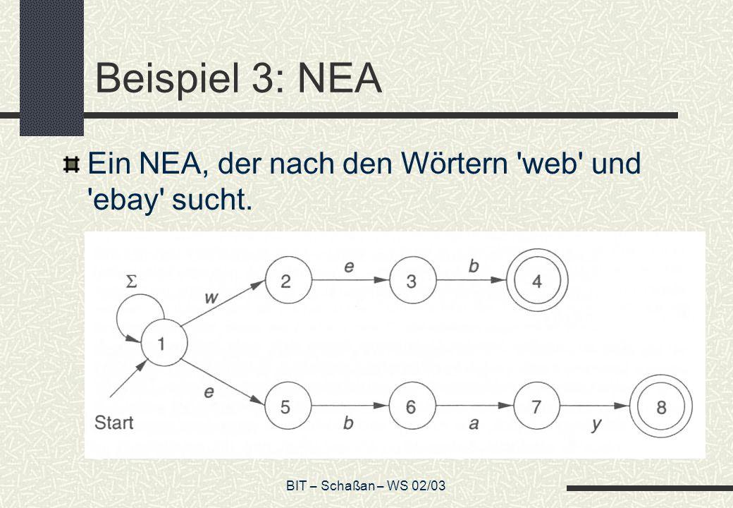 BIT – Schaßan – WS 02/03 Beispiel 3: NEA Ein NEA, der nach den Wörtern web und ebay sucht.