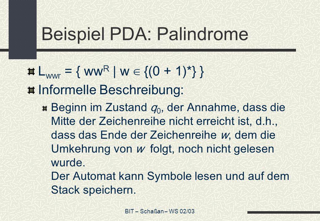 BIT – Schaßan – WS 02/03 Beispiel PDA: Palindrome L wwr = { ww R | w {(0 + 1)*} } Informelle Beschreibung: Beginn im Zustand q 0, der Annahme, dass die Mitte der Zeichenreihe nicht erreicht ist, d.h., dass das Ende der Zeichenreihe w, dem die Umkehrung von w folgt, noch nicht gelesen wurde.