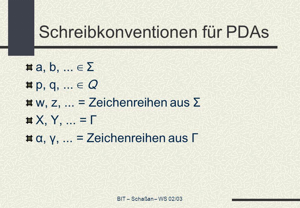 BIT – Schaßan – WS 02/03 Schreibkonventionen für PDAs a, b,...