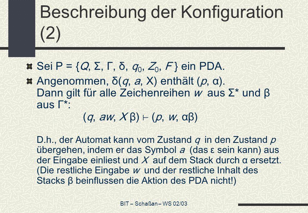 BIT – Schaßan – WS 02/03 Beschreibung der Konfiguration (2) Sei P = {Q, Σ, Γ, δ, q 0, Z 0, F } ein PDA.