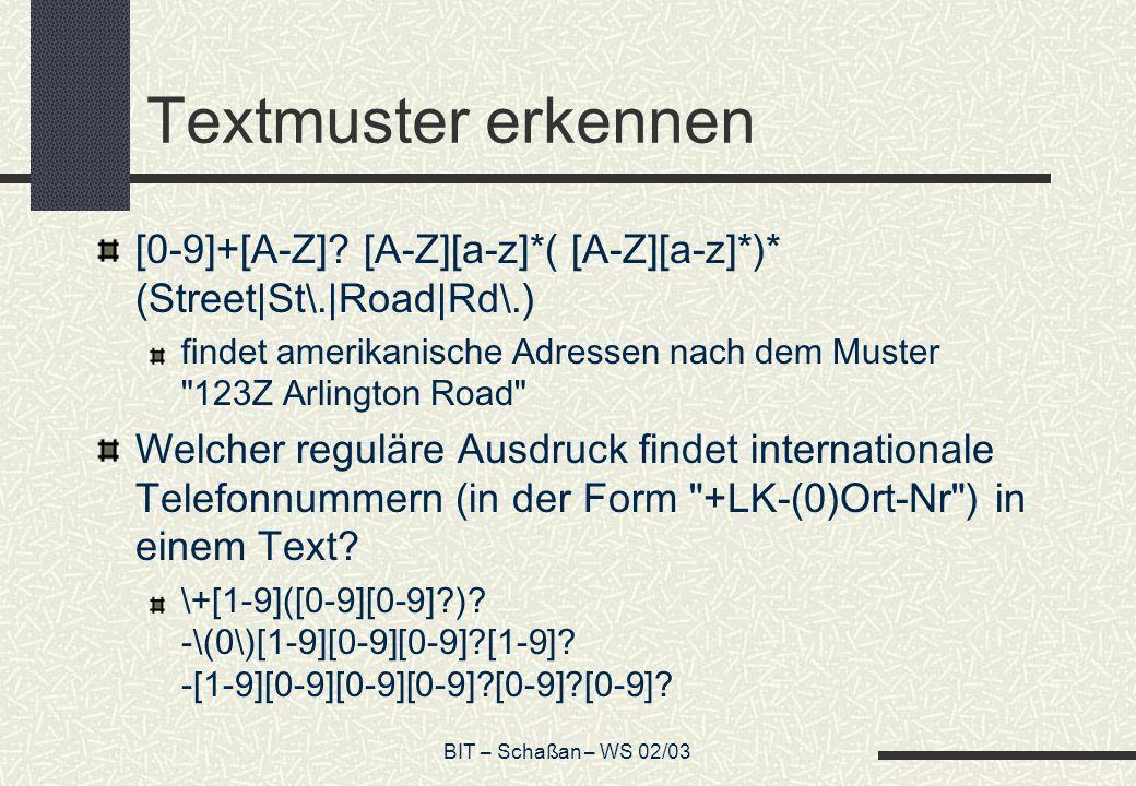 BIT – Schaßan – WS 02/03 Textmuster erkennen [0-9]+[A-Z].
