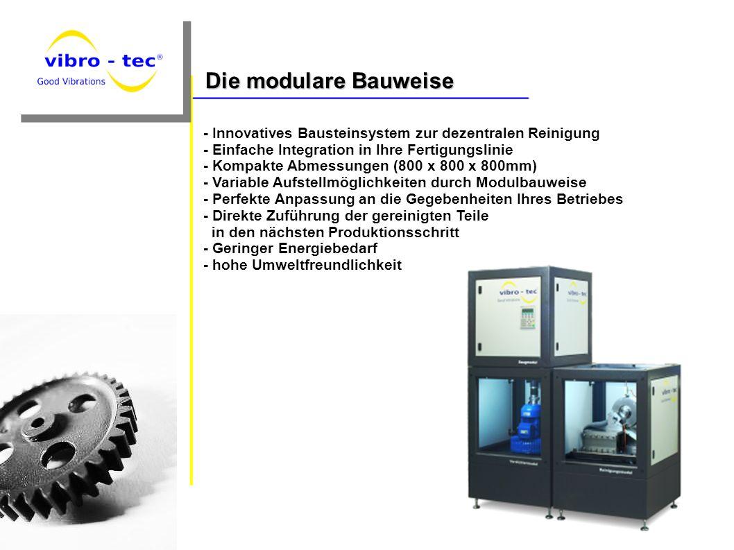 - Innovatives Bausteinsystem zur dezentralen Reinigung - Einfache Integration in Ihre Fertigungslinie - Kompakte Abmessungen (800 x 800 x 800mm) - Var