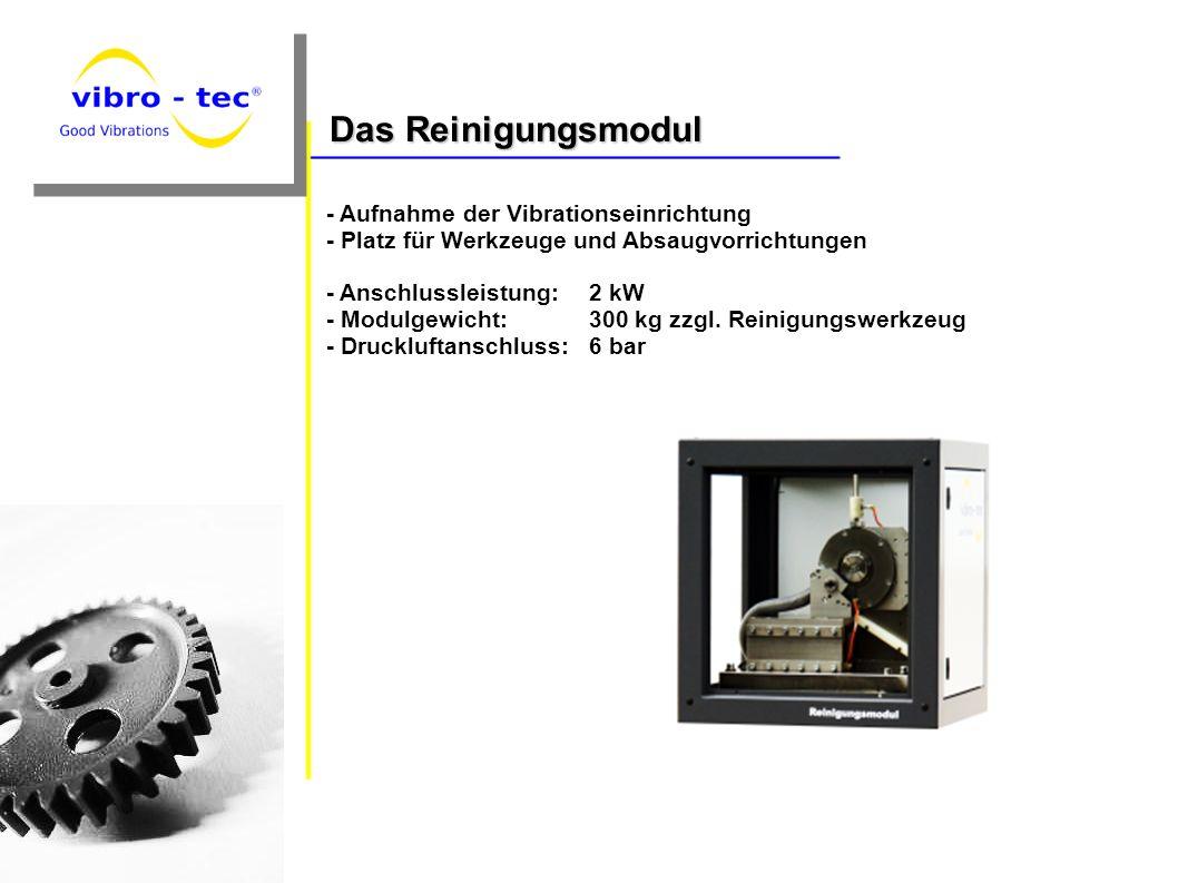 - Aufnahme der Vibrationseinrichtung - Platz für Werkzeuge und Absaugvorrichtungen - Anschlussleistung: 2 kW - Modulgewicht: 300 kg zzgl. Reinigungswe