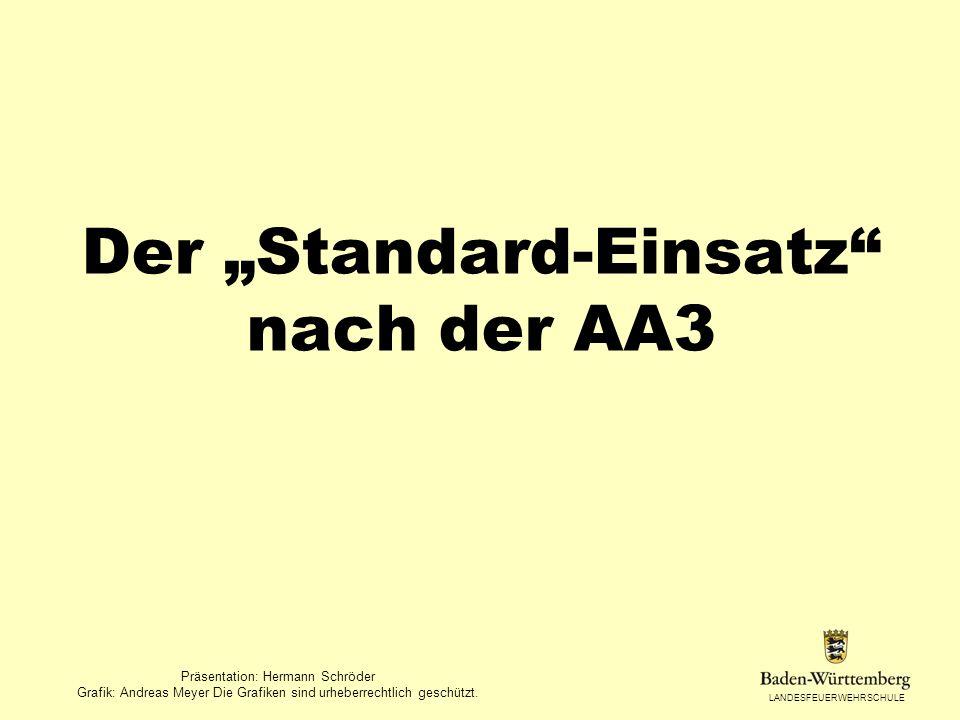 LANDESFEUERWEHRSCHULE Der Standard-Einsatz nach der AA3 Präsentation: Hermann Schröder Grafik: Andreas Meyer Die Grafiken sind urheberrechtlich geschü