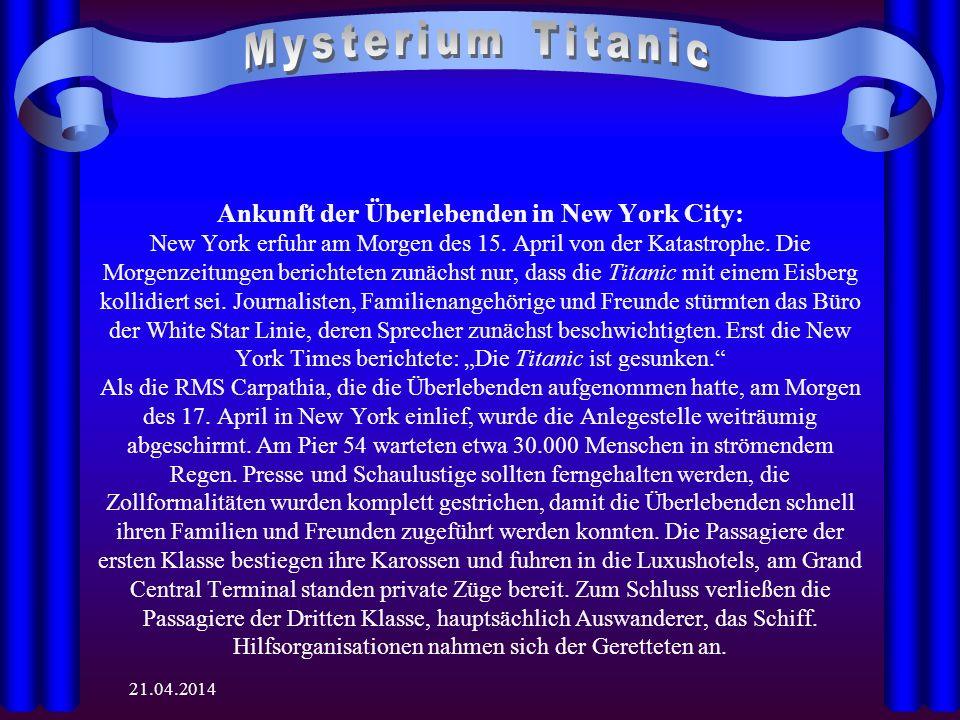 21.04.2014 Ankunft der Überlebenden in New York City: New York erfuhr am Morgen des 15.