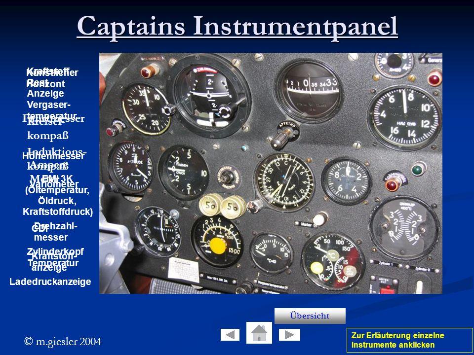© m.giesler 2004 Künstlicher Horizont Captains Instrumentpanel Fahrtmesser Höhenmesser Variometer CDI Zur Erläuterung einzelne Instrumente anklicken K