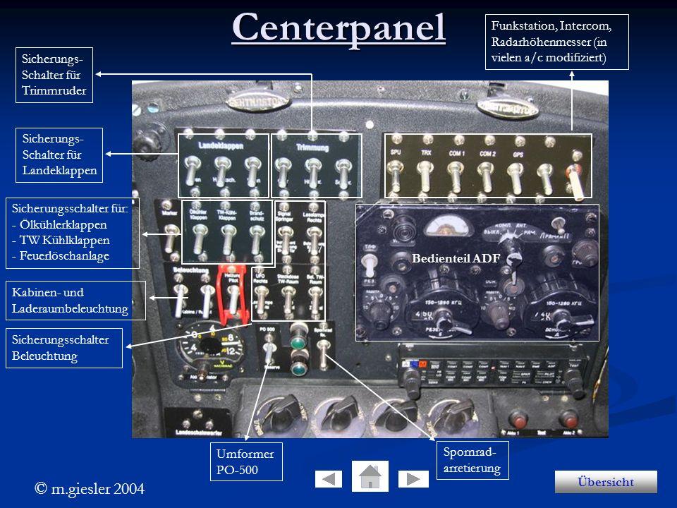 © m.giesler 2004 Centerpanel Sicherungs- Schalter für Landeklappen Sicherungs- Schalter für Trimmruder Sicherungsschalter für: - Ölkühlerklappen - TW