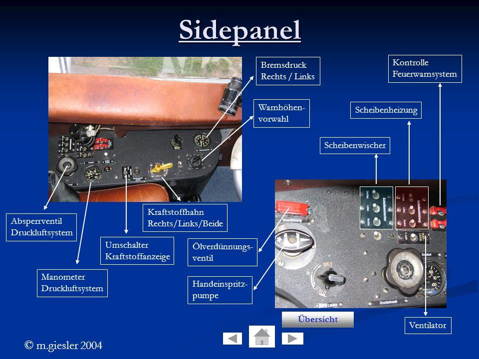 © m.giesler 2004 Sidepanel Bremsdruck Rechts / Links Warnhöhen- vorwahl Kraftstoffhahn Rechts/Links/Beide Umschalter Kraftstoffanzeige Manometer Druck
