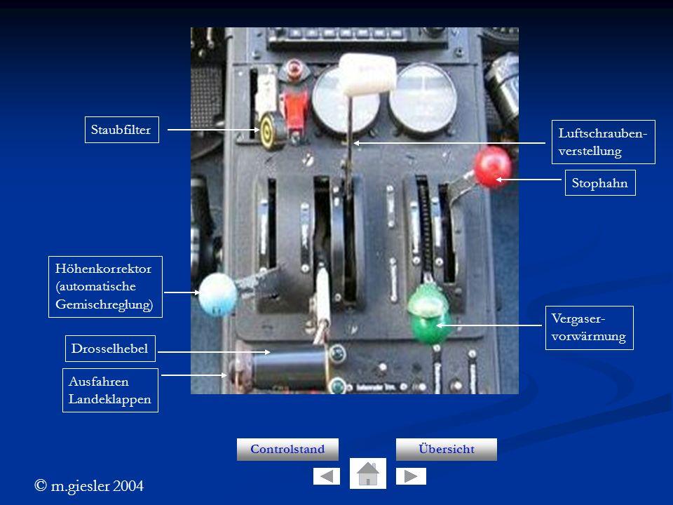 © m.giesler 2004 Controls ControlstandÜbersicht Staubfilter Höhenkorrektor (automatische Gemischreglung) Drosselhebel Ausfahren Landeklappen Stophahn