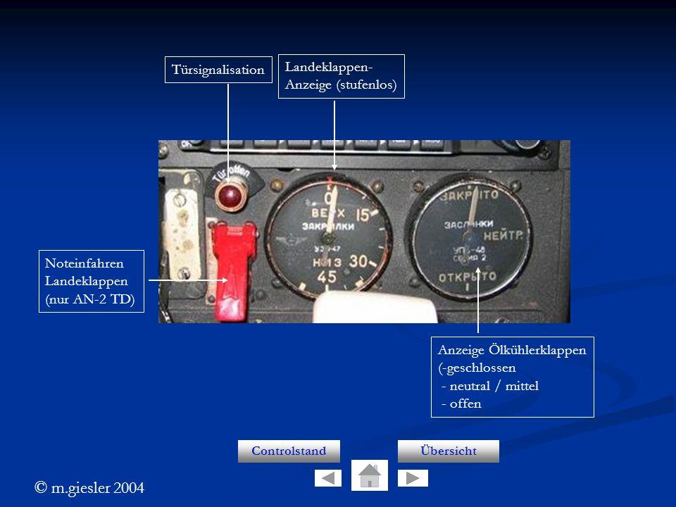 © m.giesler 2004 Lk anzeige ControlstandÜbersicht Türsignalisation Noteinfahren Landeklappen (nur AN-2 TD) Landeklappen- Anzeige (stufenlos) Anzeige Ö