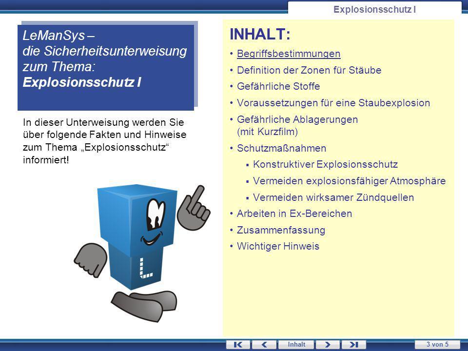 3 von 5 Inhalt Explosionsschutz I In dieser Unterweisung werden Sie über folgende Fakten und Hinweise zum Thema Explosionsschutz informiert.