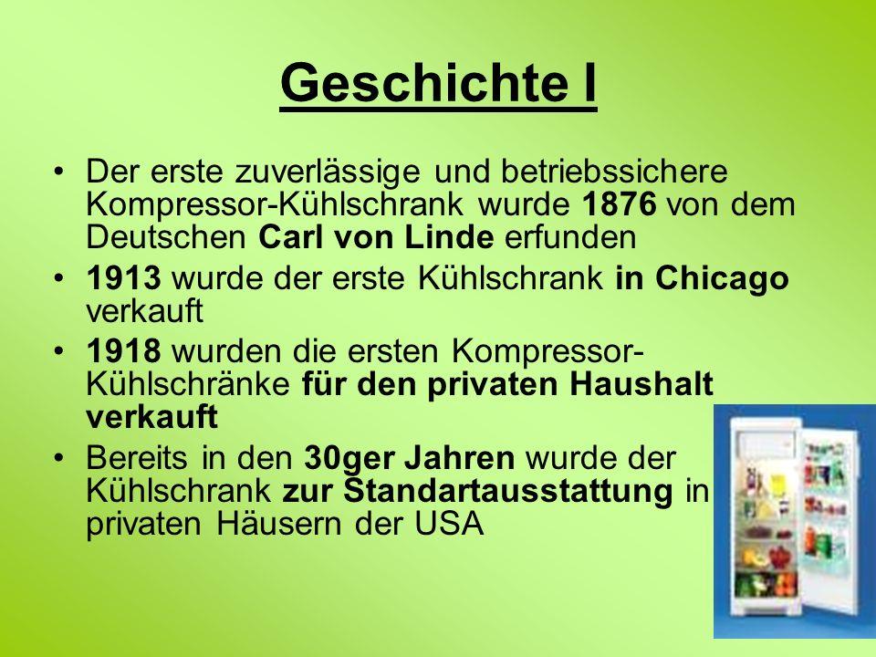 Geschichte I Der erste zuverlässige und betriebssichere Kompressor-Kühlschrank wurde 1876 von dem Deutschen Carl von Linde erfunden 1913 wurde der ers