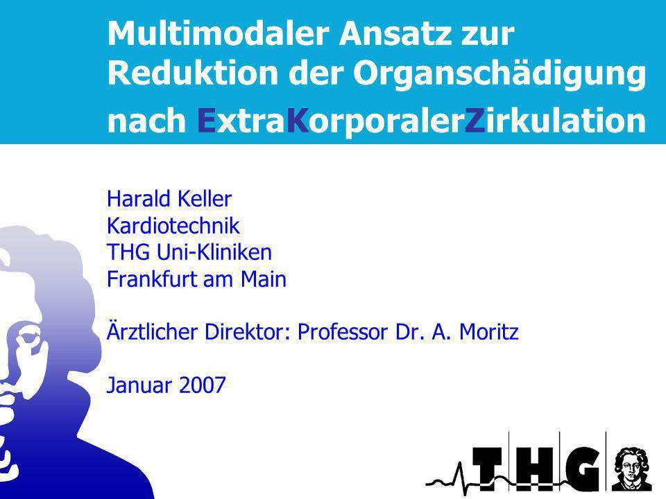 Multimodaler Ansatz zur Reduktion der Organschädigung nach ExtraKorporalerZirkulation Harald Keller Kardiotechnik THG Uni-Kliniken Frankfurt am Main Ä