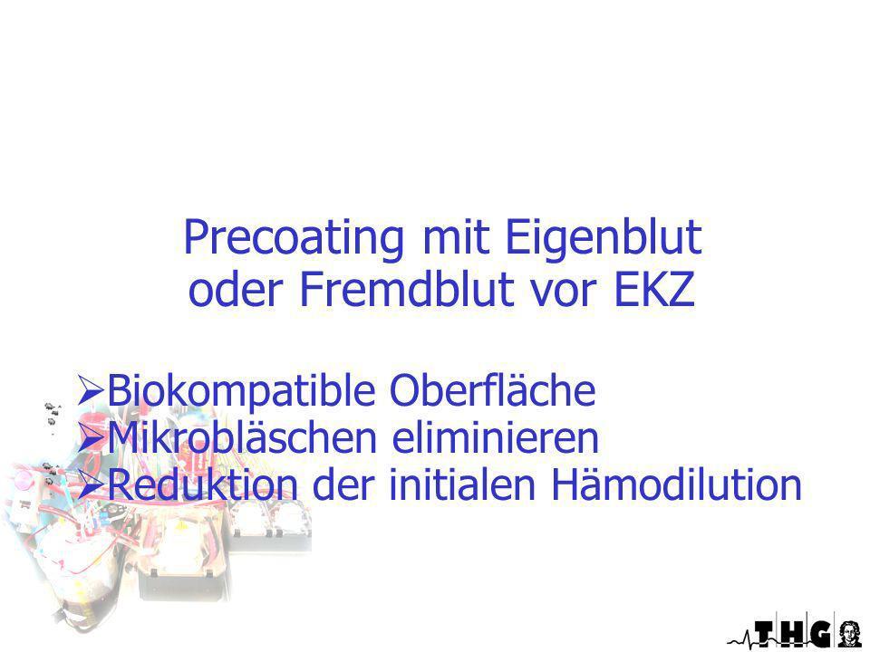Precoating mit Eigenblut oder Fremdblut vor EKZ Biokompatible Oberfläche Mikrobläschen eliminieren Reduktion der initialen Hämodilution Optimierte EKZ