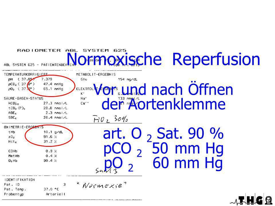 Normoxische Reperfusion Vor und nach Öffnen der Aortenklemme art. O 2 Sat. 90 % pCO 2 50 mm Hg pO 2 60 mm Hg Spezielle Perfusionstechniken während Ein