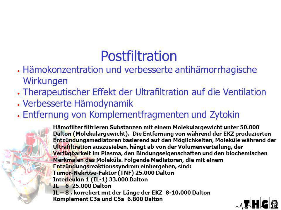 Postfiltration Hämokonzentration und verbesserte antihämorrhagische Wirkungen Therapeutischer Effekt der Ultrafiltration auf die Ventilation Verbesser