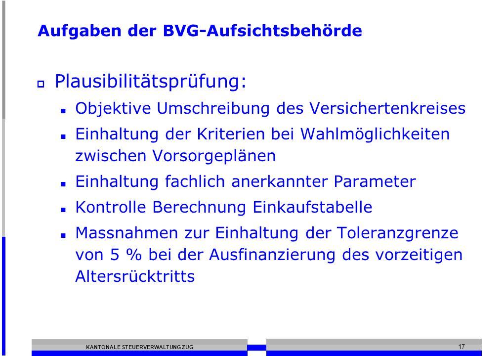KANTONALE STEUERVERWALTUNG ZUG 17 Aufgaben der BVG-Aufsichtsbehörde Plausibilitätsprüfung: Objektive Umschreibung des Versichertenkreises Einhaltung d