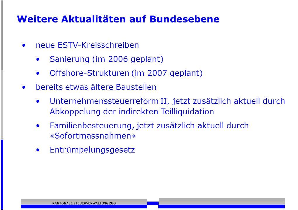 KANTONALE STEUERVERWALTUNG ZUG Weitere Aktualitäten auf Bundesebene neue ESTV-Kreisschreiben Sanierung (im 2006 geplant) Offshore-Strukturen (im 2007