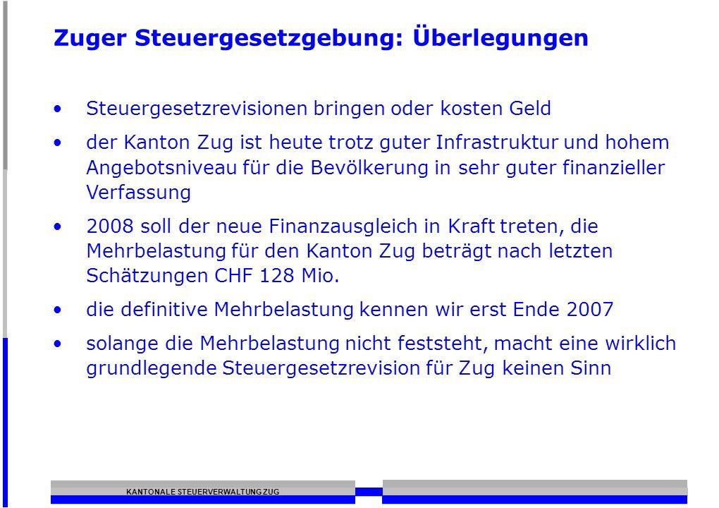 KANTONALE STEUERVERWALTUNG ZUG Zuger Steuergesetzgebung: Überlegungen Steuergesetzrevisionen bringen oder kosten Geld der Kanton Zug ist heute trotz g
