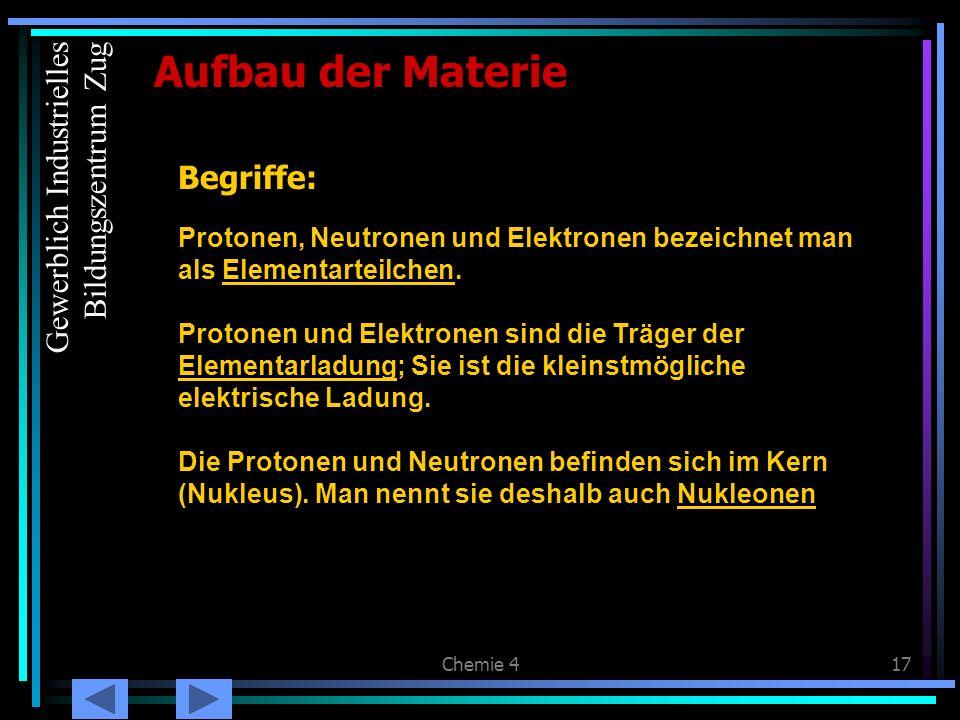 Chemie 417 Begriffe: Protonen, Neutronen und Elektronen bezeichnet man als Elementarteilchen. Protonen und Elektronen sind die Träger der Elementarlad